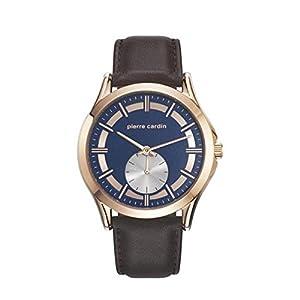 Pierre Cardin Men's Brown Leather Band Steel Case Quartz Blue Dial Analog Watch PC107851F03