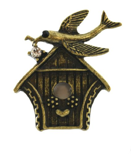 Beautiful Ice/Black Crystal Accented Bird on Birdhouse Fashion Ring on Unique Stretch Band Antique Gold Tone