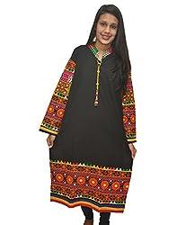 Baa Creation Women's Cotton A-Line Kurti (BAAKUT03_Black_XX-Large)