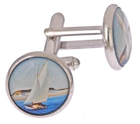 JJ Weston silver plated yacht or sailboat image cufflinks with presentation box. Made in the U.S.A