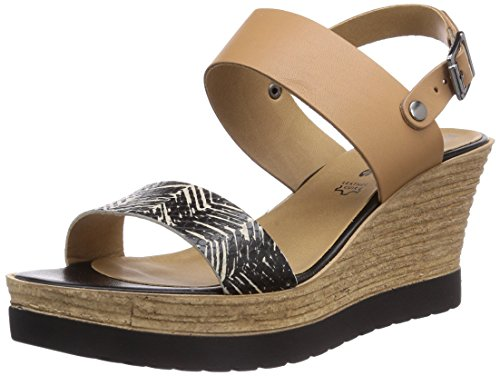 tamaris 28370 damen offene sandalen mit keilabsatz beige. Black Bedroom Furniture Sets. Home Design Ideas