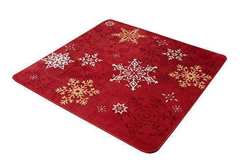 イケヒコ ラグ カーペット 2畳 洗える 雪柄 『グラスリー』 レッド 約185×185cm(ホットカーペット対応)