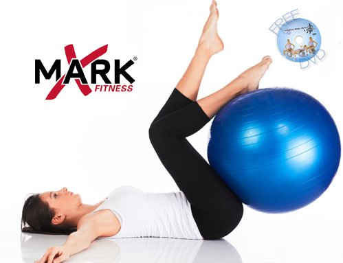 Sale!! XMark Fitness Anti Burst Exercise Ball with Pump and Workout, 55-65cm