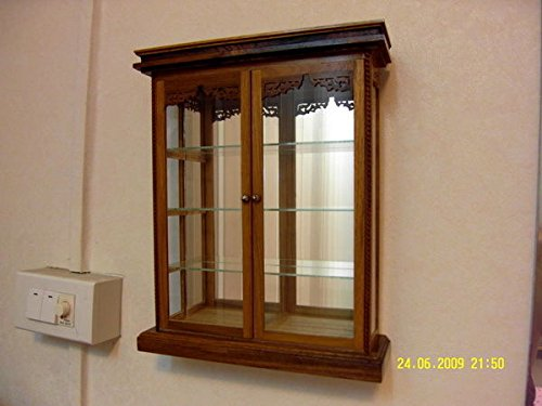 WALL Glass Teak Curio CABINET Wood Carved Mountable Shadow Box Display Case 2 Door Showcase