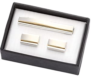 Aeropen International CUT-21 2 Tone Gold-Silver Metal Cufflinks with Matching Tie Clip in Black Cardboard Gift Box