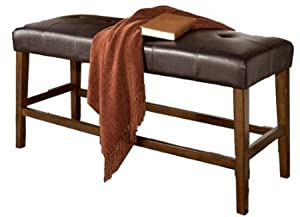 ... Lacy Brown Upholstered Counter Height Dining Bench: Kitchen & Dining