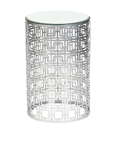 Prima Design Source Round Fretwork Accent Table, Nickel