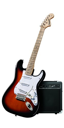 Fender Starcaster Strat Electric Guitar Bundle with Amplifier, Gig Bag, Strings, Strap, Stand, Picks, Instructional DVD, and Instrument Cable - 3-Tone Sunburst