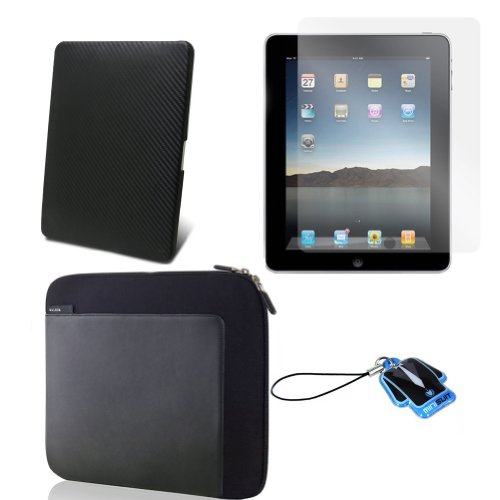 (Black Carbon Back) Apple iPad skin silicone case / leather case for iPad 3G cover neoprene sleeve case accessory bundle + screen protector + MiniSuit LCD Cleaner