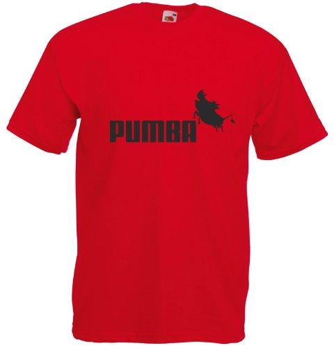 Pumba, Puma inspirert Mann Gedruckt T-Shirt - rot/ schwarz XXL= 122/127 cm