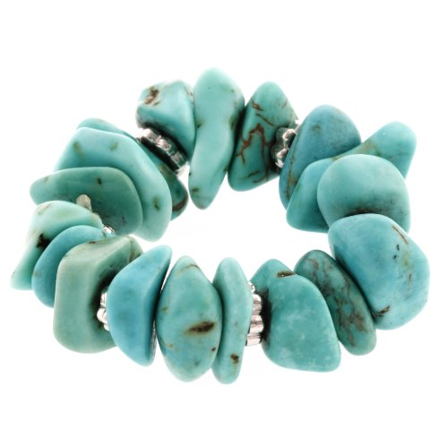 Sterling Silver Turquoise Chip Beaded Stretch Ring