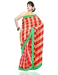 Unnati Silks Women Handloom Chanderi Sico Red'Yellow Saree