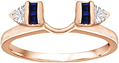 Diamond and Created Sapphire Ring Wrap Enhancer set in Sterling Silver 033 ct twt