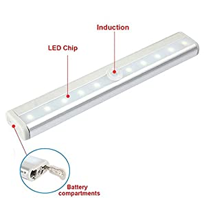 PYRUS LED Cabinet Light IR Infrared Motion Detector Sensor Closet Night Light Lamp 10LEDs Induction Wardrobe Step Lights Bar by PYRUS