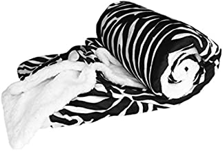 Couture Home Collection Soft Warm Micro-Mink Sherpa Animal Print 50quot X 60quot Throw Blanket Zebra