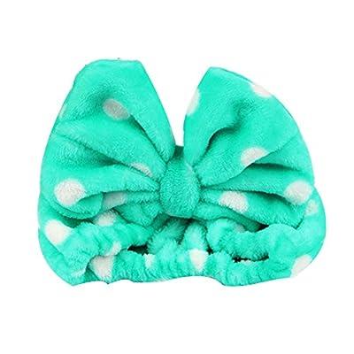 XUKE Women Fashion Lovely Soft Carol Fleece Leopard Striped Polka Dot Bowknot Bow Makeup Cosmetic Shower Elastic Hair Band Hairlace Headband