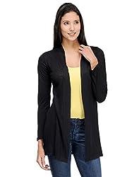 Colornext Viscose Black Shrug for Women (Size: Medium)