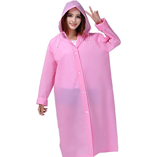 Cirkleoutdoor Rain Coat Hooded Raincoat Rain Poncho Portable Bicycle Bike Emergency Rain Poncho for Men and Women L (pink)