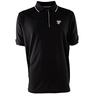 NHL Pittsburgh Penguins Men's Elite Xtra Lite Polo, Black/White, Large