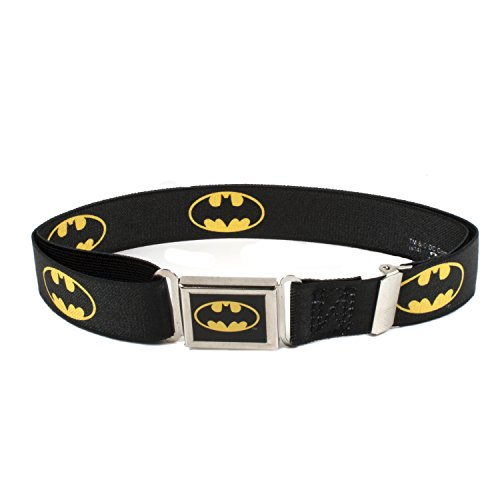 Buckle Down Kids Magnetic Buckle Batman Stretch Belt, Black