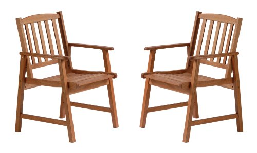 2 X DELUXE EUCALYPTUS WOODEN GARDEN PATIO ARM CHAIRS