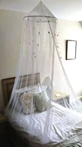 Princess Silk Dome Bed Canopy with Flower Ribbons