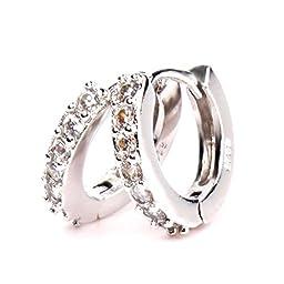 ZHUOTOP 1pair Women New Sterling Silver A Single Row Of Diamonds Sparkling Stars Hoop Earrings?