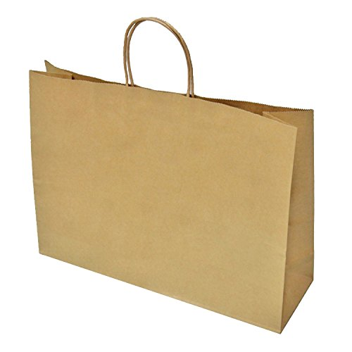 Halulu 25 Pcs Kraft Paper Handle Shopping Reusable Gift Merchandise Carry Retail Bags (16