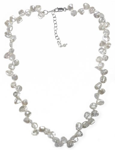 Sterling Silver White Freshwater Cultured Pearl Necklace, 16-18