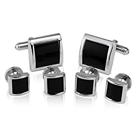 Cufflinks and Studs Set for Tuxedo - Formal Black with Shiny Silver Trimming (cs1)
