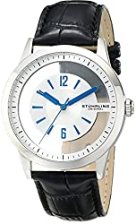 Stuhrling Original Men's 946.01 Winchester Stainless Steel Transparent-Dial Black Watch with Black Leather Band