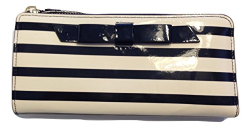 Kate Spade Chelsea Park Patent Stripe Nisha Clutch Black/Cream WLRU1913