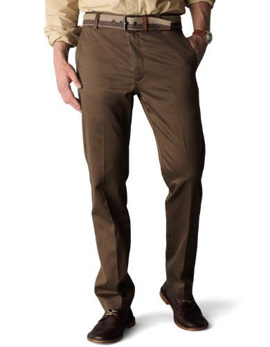 Dockers Men's Signature Khaki D1 Slim Fit Flat Front Pant, Branch, 33×32