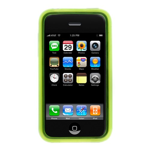 Green Durable Soft Gel Skin Cover Case for Apple Iphone 3G, Iphone 3G S 3GS Smartphone