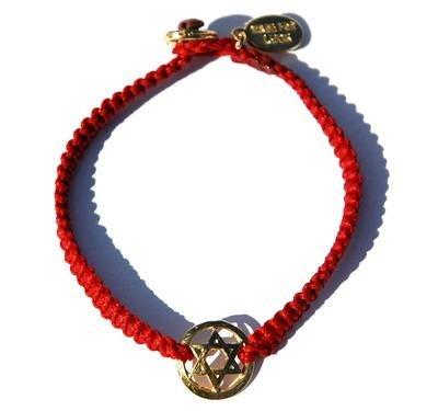 Gold Star of David on Braided Red Bracelet Handmade Jewish Jewlery