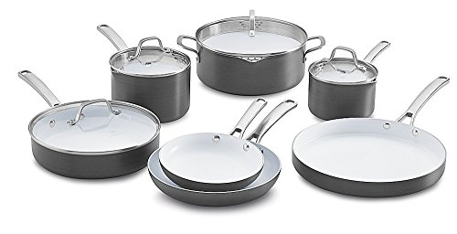 Calphalon 1937306 11 Piece Classic Ceramic Nonstick Cookware Set, Grey/White, Small (Calphalon Cookware White compare prices)