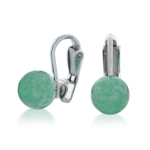 Bling Jewelry .925 Sterling Silver Jade Bead Clip On Earrings
