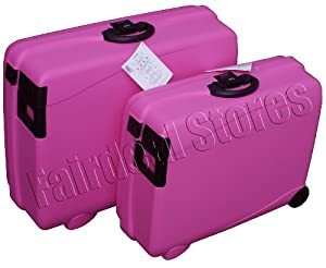 2 Pc Carlton Hard Suitcase Wheeled Luggage Set Pink Airtec 75cm & 65cm