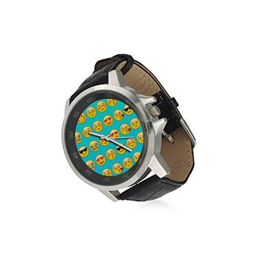 Emojis-Unisex-Stainless-Steel-Classic-Leather-Strap-Watch-Case-Tempered-Glass
