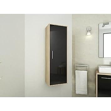 mix colonne salle de bain bain 40 cm bois chene noir cuisine maison m31. Black Bedroom Furniture Sets. Home Design Ideas