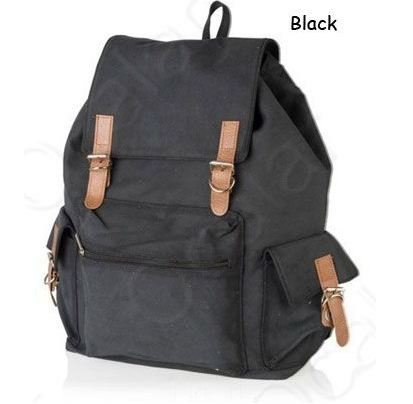 Black Canvas Backpack School Bag Super Cute for