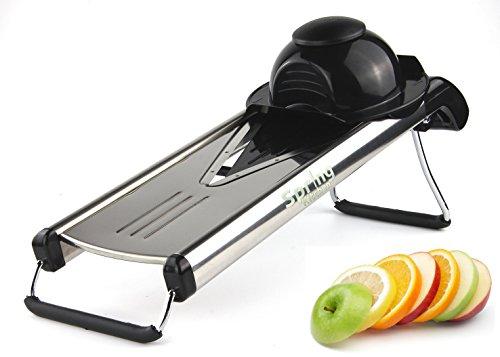 Spring Kitchen - Premium V-Blade Stainless Steel Mandoline Food Slicer Cutter.5 Different Inserts.Cleaning Brush (V Slicers compare prices)