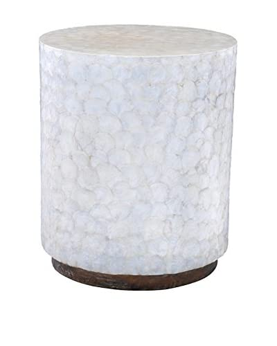 Jeffan Capiz Round End Table, White