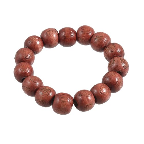Rosallini Brown Wooden Beads Hanzi Buddha Print Elastic Prayer Bracelet Bangle for Women Men