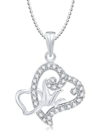 Valentine Gifts Meenaz Heart Pendant With Chain Silver Plated For Girls And Women PS188