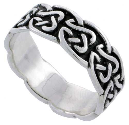 Sterling Silver Celtic Knot Wedding Band / Thumb Ring 1/4 inch wide, size 7.5