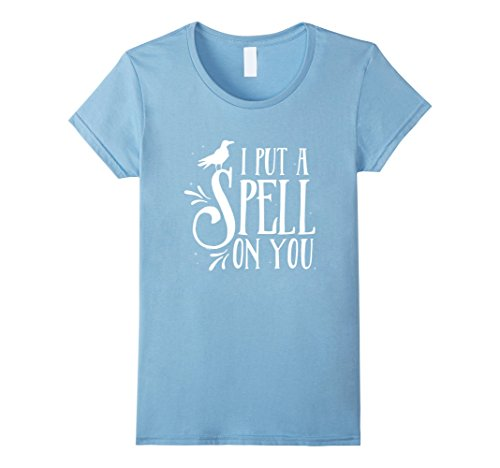 Women's I Put A Spell On You - Funny Halloween T-shirt XL Baby Blue (2016 Pumpkin Carving Ideas)