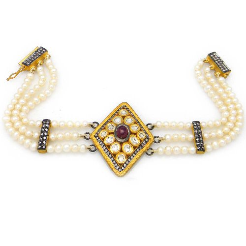 OyeSassy White Elegant Sterling Silver Pearl Bracelet With Tourmaline Pink & Zircon White. For Women (multicolor)