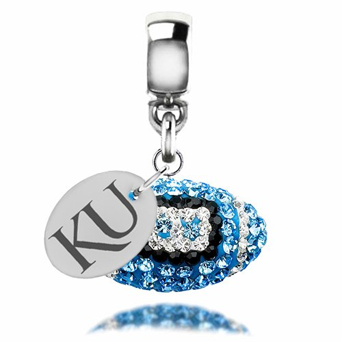 Kansas Jayhawks Sterling Silver Crystal Football Dangle Charm Fits All European Style Bracelets