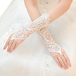 Binmer(TM)Fashion Lace Up Fingerless Lace Sequins Short Bridal Wedding Drill Gloves